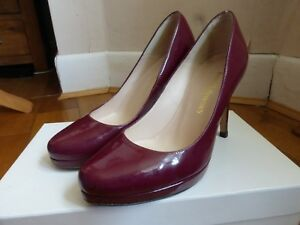 Russell & Bromley Park Avenue Court shoes dark red patent leather 37 4 VGC