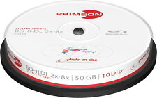 20 Primeon Rohlinge Blu-ray BD-R DL full printable photo on disc 50GB 8x Spindel