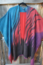 DILEMMA ARTIST HAND PAINTED AND WOVEN ART TO WEAR BURLAP PONCHO JACKET & SCARF!