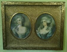 1896 Marie Antoinette 2 Painted Photographs AUTHENTIC Signed Gold on Brass Frame