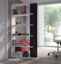 White/Black Tall Aida 5 Tier Bookcase Storage Unit Room Divider Melamine