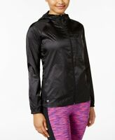 Ideology Womens Hooded Lightweight Athletic Rain Jacket Noir Size Medium