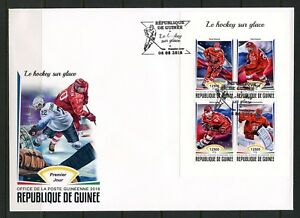GUINEA 2018 ICE HOCKEY SHEET FIRST DAY COVER