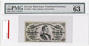 FR 1294  50 Cent 3rd Issue Fractional Currency PMG 63 EPQ Choice UNC Green Back