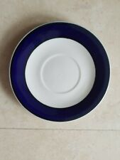 GIBSON  CLASSIC SAUCERS  WHITE WITH BLUE RIM