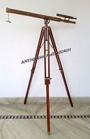 ANTIQUE MARITIME DECOR VINTAGE NAUTICAL BRASS TELESCOPE WITH WOODEN TRIPOD STAND