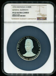 Indonesia 1970, Sudirman 1000 Rupiah, NGC PF 63 Silver Proof