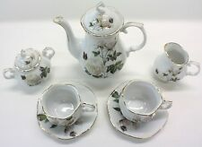 PETITE BUTTERFLIES FLORAL PORCELAIN TEA SET TEAPOT SUGAR BOWL CREAMER 2 TEACUPS