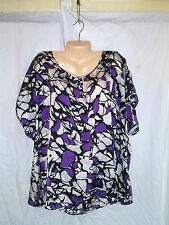 THE RUMOR T BY AVENUE SHORT SLEEVE BLOUSE WHITE/PURPLE/BLACK  SZ 22/24