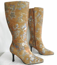New  Cami Knee High Boots, Size 6 M, Tan Suede Leather Uppers, Floral Pat