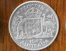 1947 Australian Silver 2/- TWO Shilling Florin (TWO BOB) KING GEORGE VI