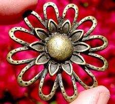 Bronze Daisy Gold Pendant Brass Flower Vintage Gerber Antique Jewelry scrapbook