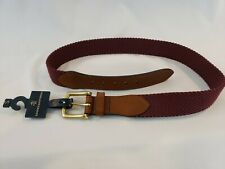 Brooks Brothers Belt Size Small - Burgundy / Brown Leather Streach Brass Buckle