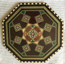 16� Spanish Marquetry Wood Inlay Geometric Design Octagonal Tray