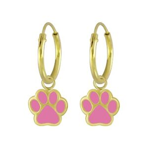 14k Gold on 925 Sterling Silver Pink Black Dog Cat Animal Paw Print Hoop Earring