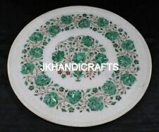 "12"" Round Marble Wall Plate Marquetry Malachite Floral Inlaid Art Kitchen Decor"