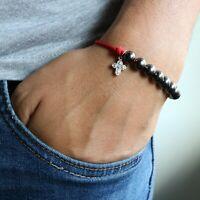 Rosary Bracelet Red Paracord Handmade Black Gunmetal Plated Beads Catholic Cross
