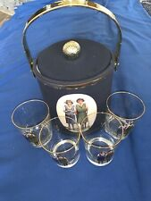 Vintage Set Of (4) Lady Golfer Old Fashioned's W/Gold Rim/ Matching Ice Bucket