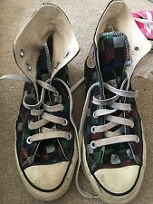 VINTAGE 1980S MADE IN USA Multi a scacchi da discoteca Converse Hi Tops UK 4.5 US 6
