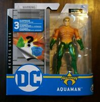 DC Spin Master AQUAMAN 4 Inch Action Figure 3 Mystery Accessories Heroes Unite