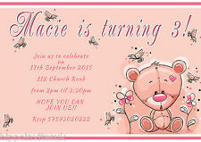 Personalised Girls Teddy Bear Butterfly Birthday Party Invites x12 +envs H0138