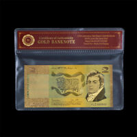 WR 24K Australia Gold Banknote Coloured $2 Johnston/Fraser Note Collectable Gift