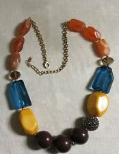 "Chunky Goldtone Metal Orange Blue Yellow Brown Plastic Bead 27.5"" Necklace"