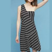 Anthropologie Maeve Moka Dress XS One Shoulder Knit Black White Stripe Asymetric