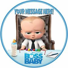 """7.5"""" Round Boss Baby Personalised Cake Topper ICING"""