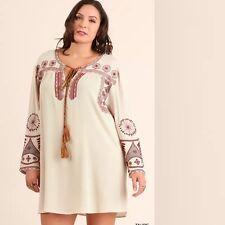 XL NEW UMGEE womens plus size taupe embroidery swing tunic dress free ship boho