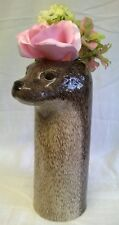 QUAIL CERAMIC OTTER FLOWER VASE - WILDLIFE ANIMAL HEAD MODEL ORNAMENT FIGURE
