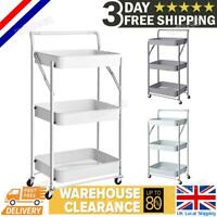 3 Tier Multi Purpose Storage Rack Strong Standing Shelves Rolling Cart Kitchen