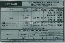 1969 COUGAR/XR-7 TIRE PRESURE DECAL