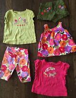 Gymboree Girl's Pretty Posies Lot of 5 Sz 2T Dog T-Shirts 3T Olive Shorts 12-18M