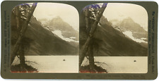 Stereo Canada, Rocky Mountains, Alberta, Lake Louise and Mt. Lefroy, 1906 Vintag