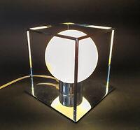 ♥ FABAS LUCE CHROME TABLE LIGHT DESIGN LAMPADA DA TAVOLO VETRO BIANCO SATINATO