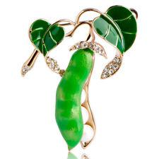 Spilla fermaglio Baccello piselli brillantini accessorio bijoux regalo donna