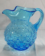 Vintage Glass Art Retro Bubble Glass Light Blue Ice Lip Pitcher with Reed Handle