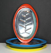Set of 4 Fajita Sizzler Plates Aluminum - Orange Yellow Green Blue Vintage Japan