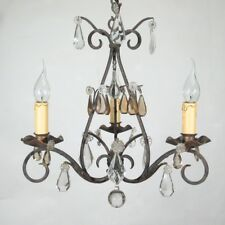 Authentic Old French Wrought Iron and Tole Chandelier, Amber Crystal Prisms