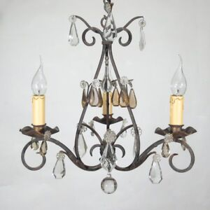 Authentic Old FrenchWrought Iron and Tole Chandelier, Amber Crystal Prisms
