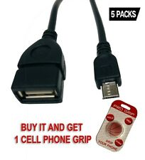 2.0 OTG Cable On The Go Adapter Male Micro USB to Female USB .5 PACKS 4tf