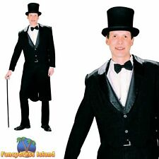 OLD ENGLAND VICTORIAN BLACK TAIL COAT - One Size - mens fancy dress costume