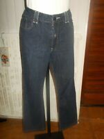 Pantalon jean bleu stretch droit INES DE LA FRESSANGE 44F brodé logo doré 18ts29