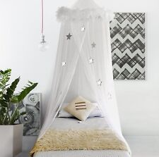 Boho Bee Bed Canopy Mosquito Net Curtains with Feathers and Stars for Girls
