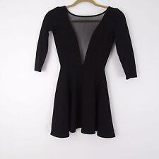 American Apparel Black Gloria-V Skater Deep Cutout Mesh Dress Size S