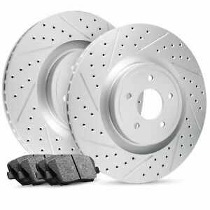 For 1995-1997 Toyota Tacoma Front Drilled Slotted Brake Rotors+Ceramic Pads