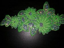 Green flower sequin embroidery patch lace applique motif dress dance costume