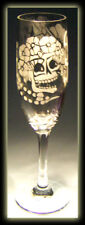 Day Of The Dead Skull Art Wedding Bride Champagne Flute
