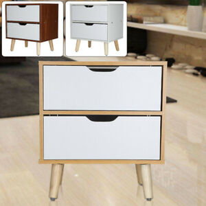 New 2 Drawer Chic Nightstand Bedside Cabinet Wooden Small Storage Table White